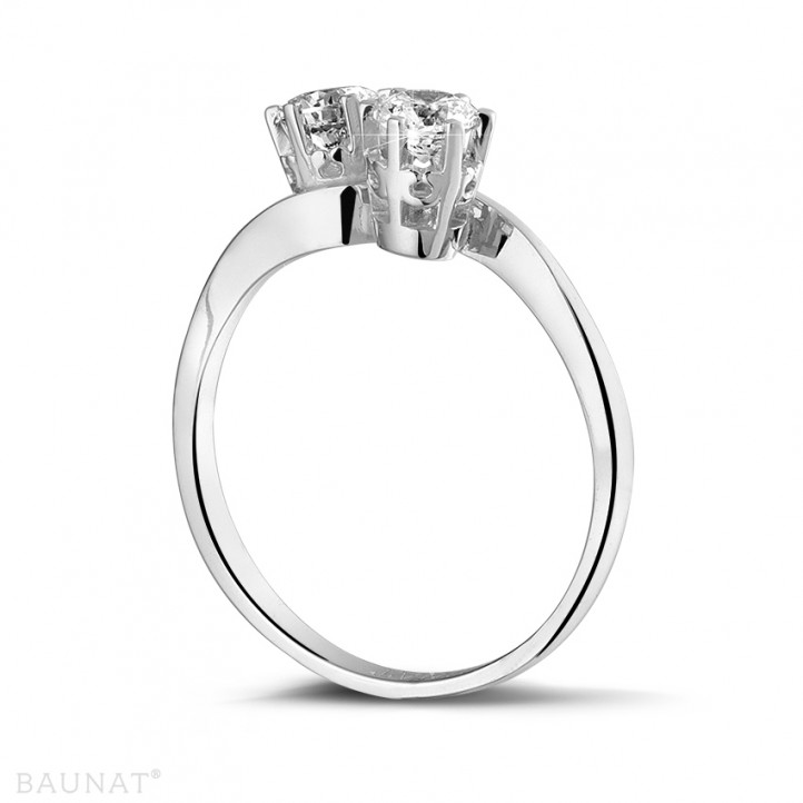 0.50 quilates anillo diamante Toi et Moi en oro blanco