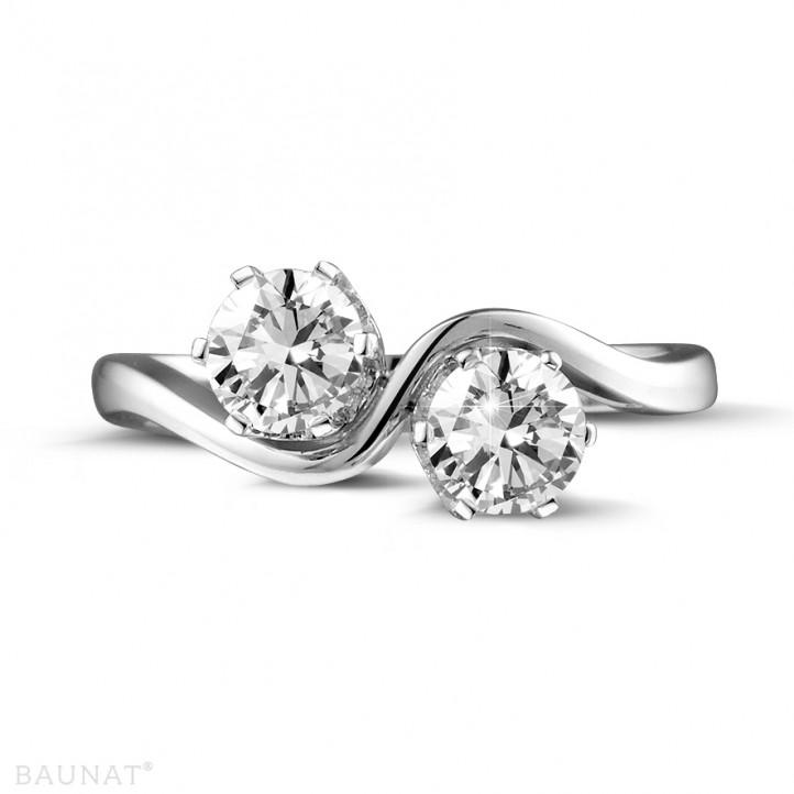 1.00 quilates anillo diamante Toi et Moi en oro blanco