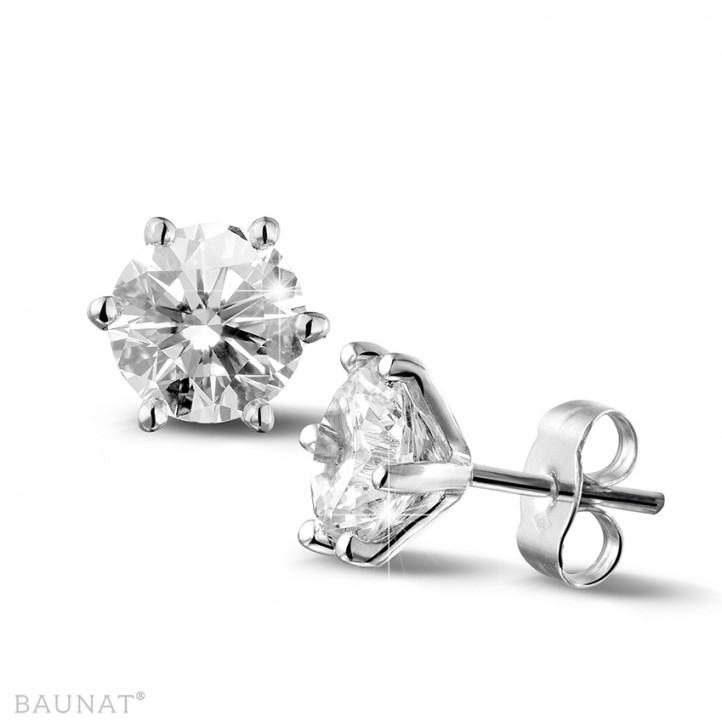 3.00 quilates pendientes diamantes clásicos en oro blanco con seis garras