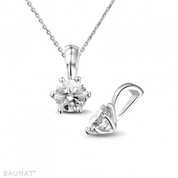 0.75 quilates colgante solitario en platino con diamante redondo