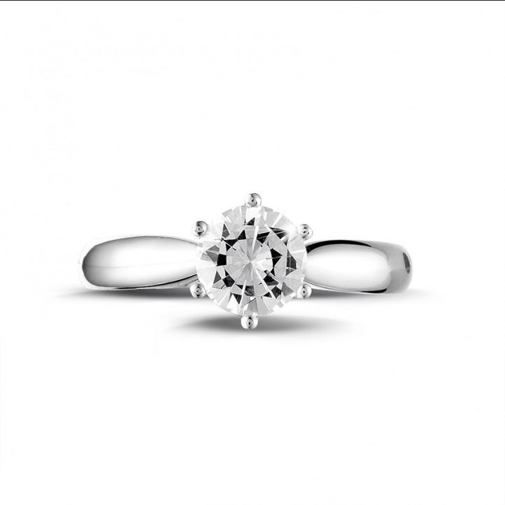 1.00 quilates anillo solitario diamante de oro blanco