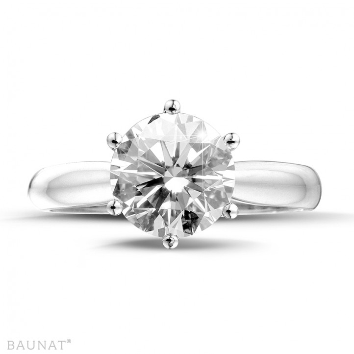 3.00 quilates anillo solitario diamante de oro blanco