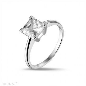 2.50 quilates anillo solitario en oro blanco con diamante talla princesa