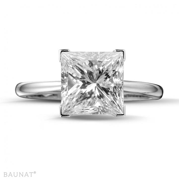 3.00 quilates anillo solitario en oro blanco con diamante talla princesa