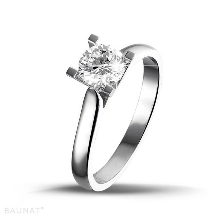 0.75 quilates anillo solitario diamante de oro blanco
