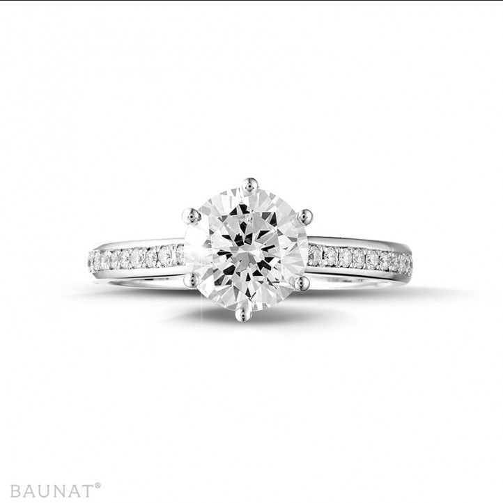 1.50 quilates anillo solitario diamante de oro blanco con diamantes en los lados