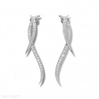 Pendientes - 1.90 quilates pendientes diamantes diseño en oro blanco