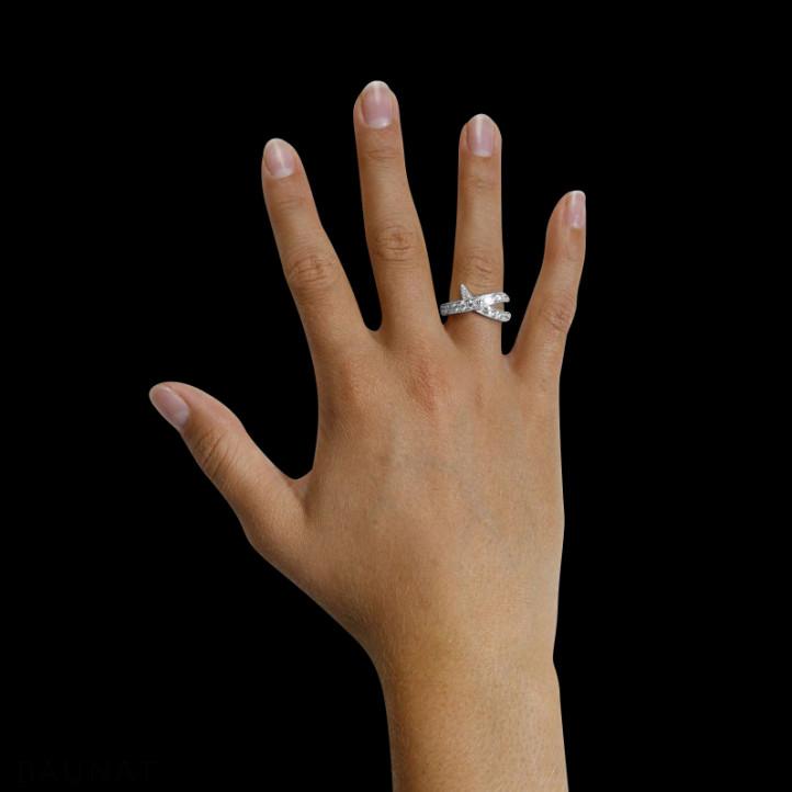 1.40 quilates anillo diamante diseño en oro blanco