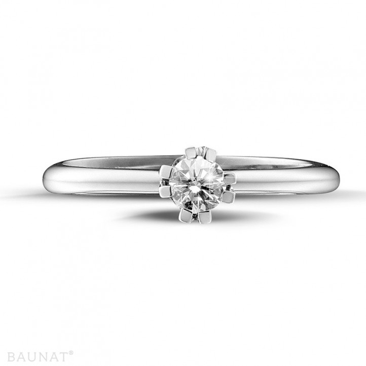 0.25 quilates anillo solitario diamante diseño en platino con ocho garras