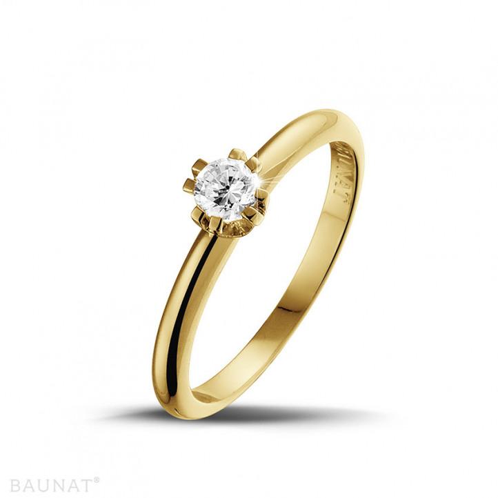 0.25 quilates anillo solitario diamante diseño en oro amarillo con ocho garras