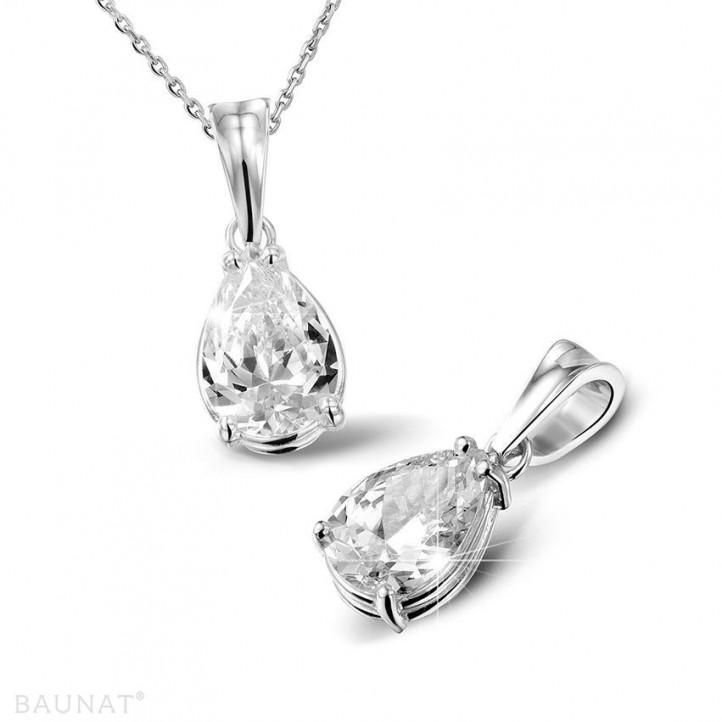 2.00 quilates colgante solitario en platino con diamante en forma de pera