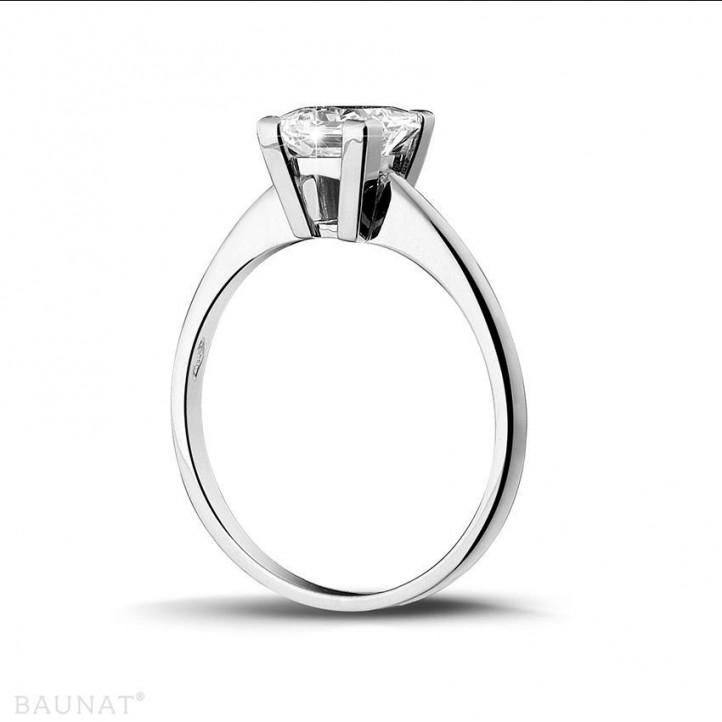 1.50 quilates anillo solitario en oro blanco con diamante talla princesa