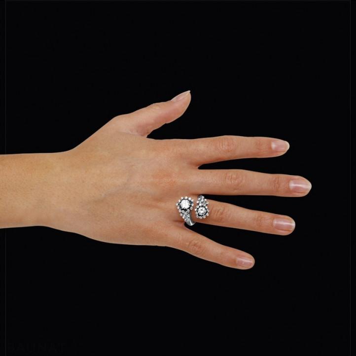 """1.50 quilates anillo diamante """"Toi & Moi"""" diseño en oro blanco"""