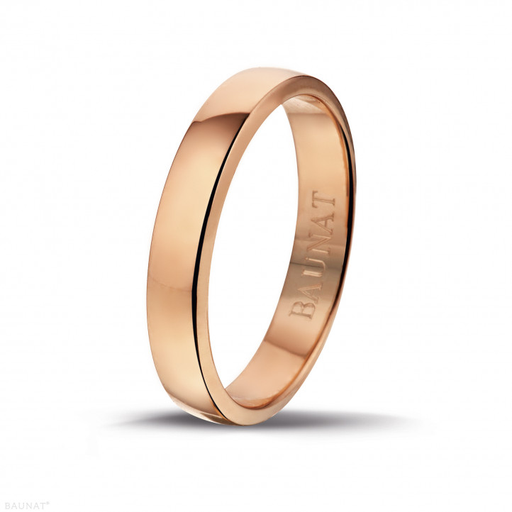 Anillo de boda con superficie esférica ligeramente de 4.00 mm en oro rojo