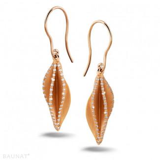2.26 quilates pendientes diamantes diseño en oro rojo