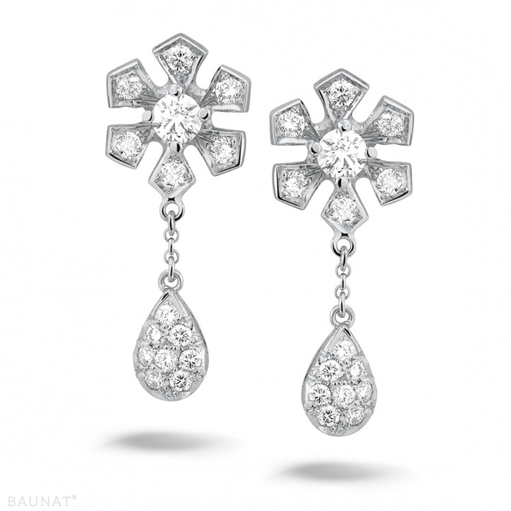0.90 quilates pendientes diamantes flor en oro blanco