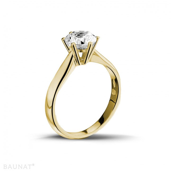 1.25 quilates anillo solitario diamante en oro amarillo