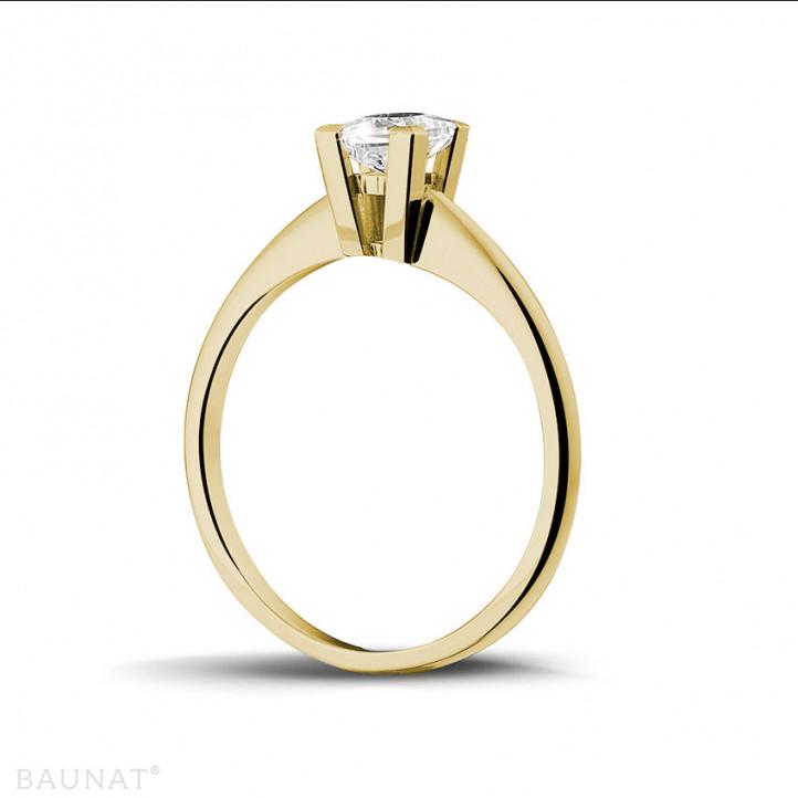 0.50 quilates anillo solitario en oro amarillo con diamante talla princesa