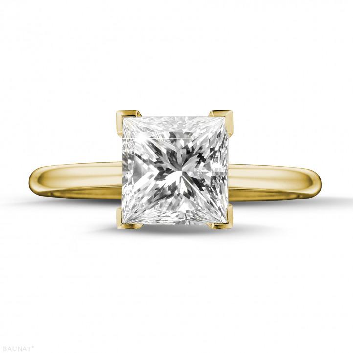 2.00 quilates anillo solitario en oro amarillo con diamante talla princesa