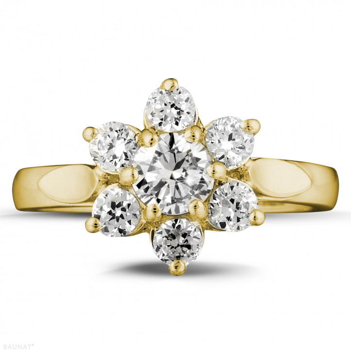1.15 quilates anillo flor diamante en oro amarillo