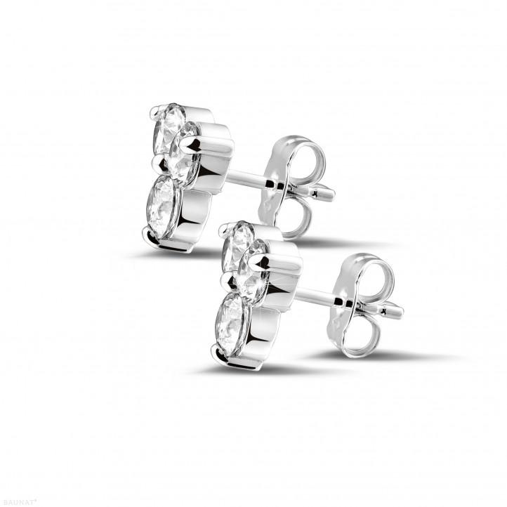 2.00 quilates pendientes diamantes trilogía en oro blanco