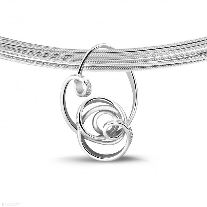 0.80 quilates colgante diamante diseño en platino