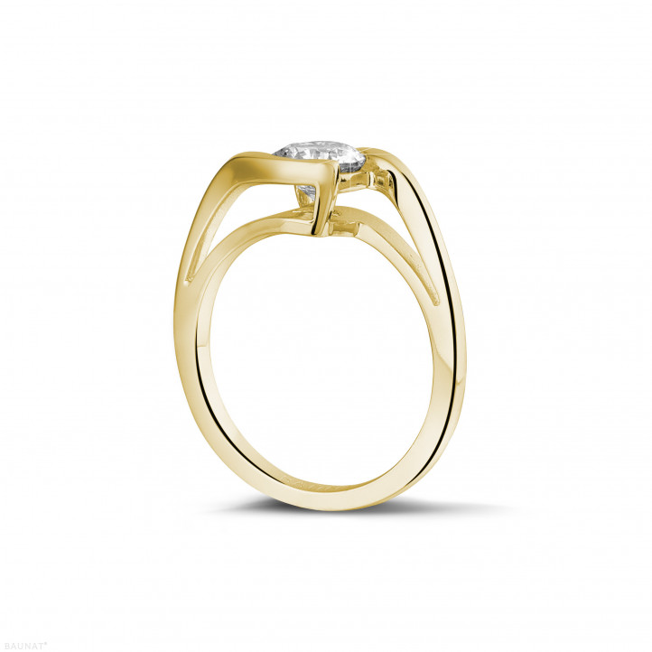 1.00 quilates anillo solitario diamante en oro amarillo
