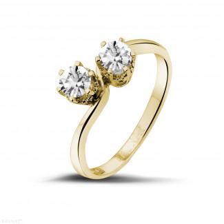 0.50 quilates anillo diamante Toi et Moi en oro amarillo