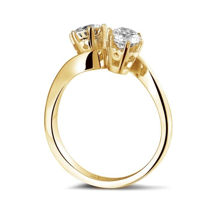 1.00 quilates anillo diamante Toi et Moi en oro amarillo