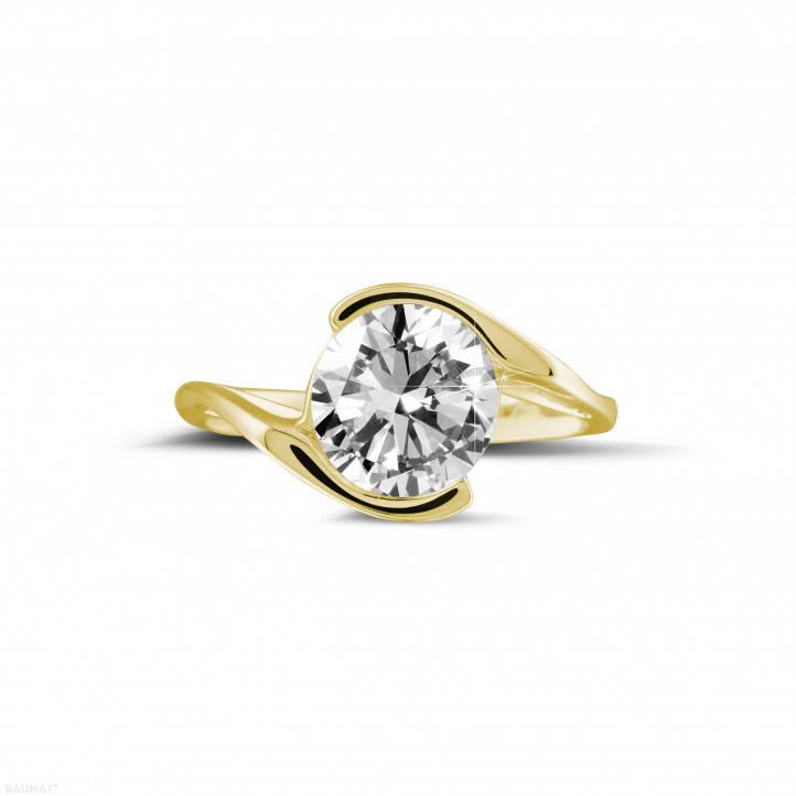 2.00 quilates anillo solitario diamante en oro amarillo