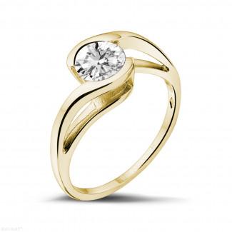 0.70 quilates anillo solitario diamante en oro amarillo