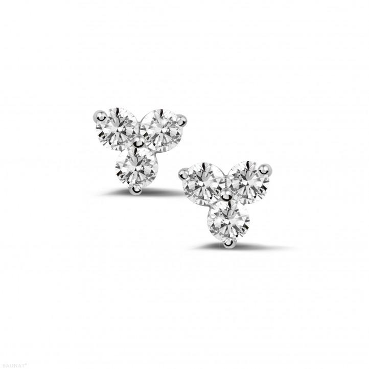 0.60 quilates pendientes diamantes trilogía en platino