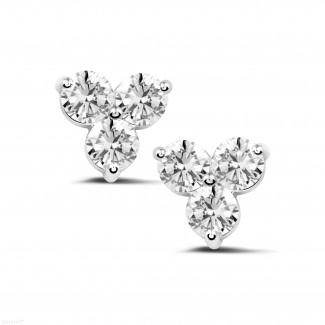 2.00 quilates pendientes diamantes trilogía en platino