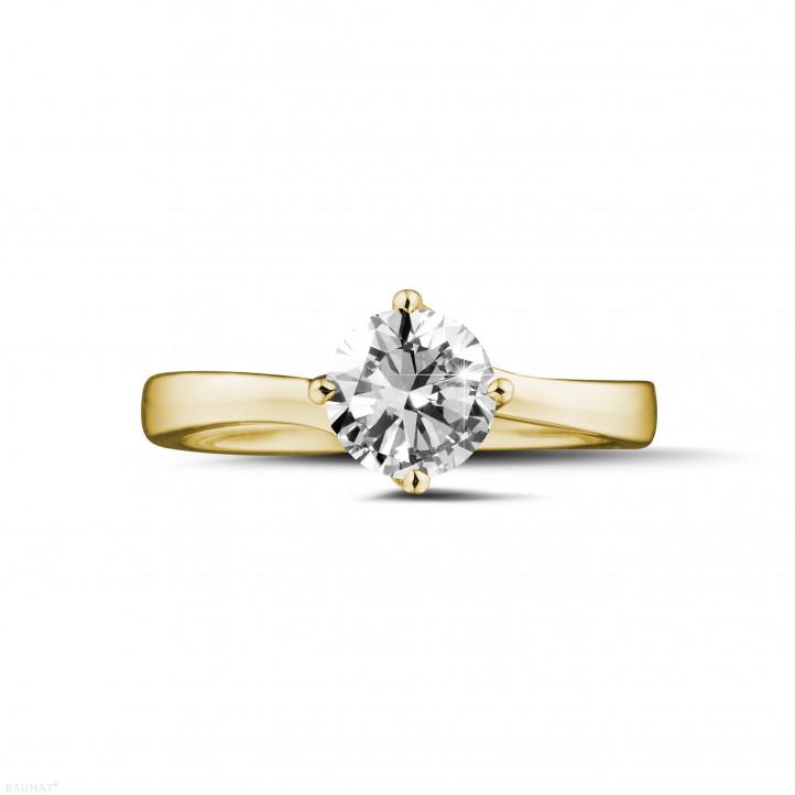 0.90 quilates anillo solitario diamante en oro amarillo