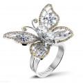 2.00 quilates anillo mariposa diseño en oro blanco con diamantes color coñac y zafiro