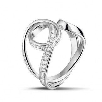 Or Blanc - 0.55 carat bague design en or blanc et diamants