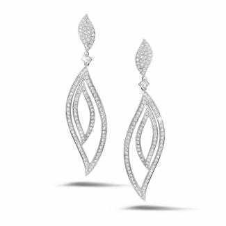 Boucles d'oreilles - 2.35 carat boucles d'oreilles feuilles en or blanc et diamants
