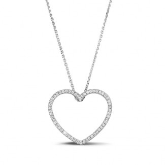 Colliers Or Blanc - 0.45 carat pendentif en forme de coeur en or blanc et diamants