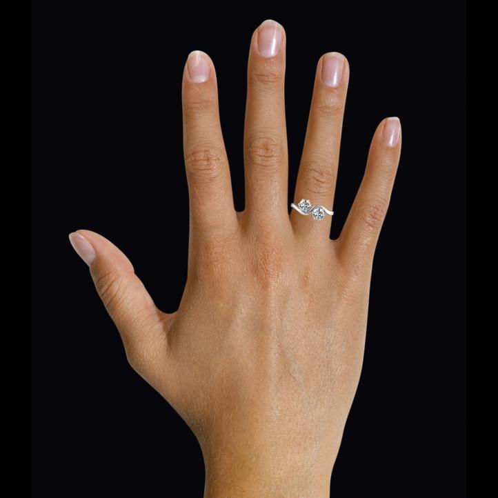 1.00 carat bague Toi et Moi en or blanc et diamants