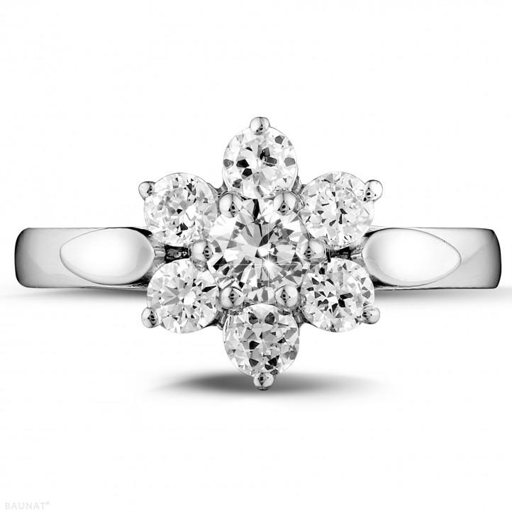 1.00 carat bague fleur en platine et diamants