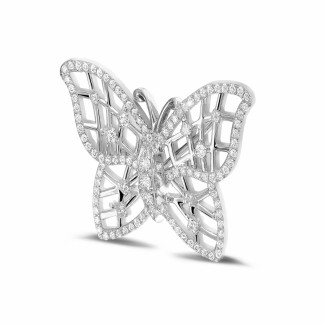 Colliers Platine - 0.90 carat broche design papillon en platine avec diamants