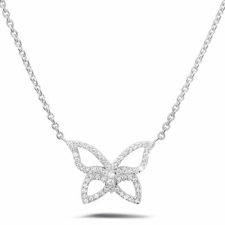 Colliers Or Blanc - 0.30 carat collier design papillon en or blanc avec diamants