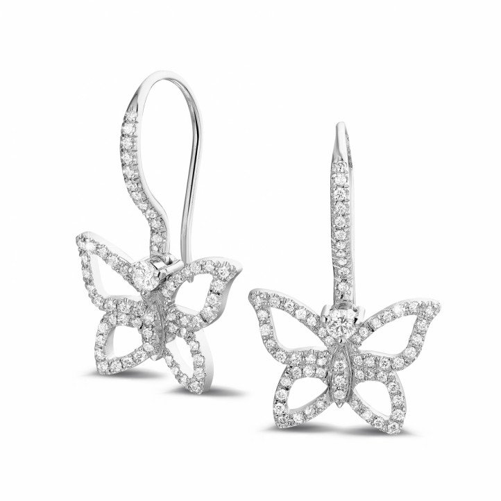 0.70 carat boucles d'oreilles design papillon en platine et diamants