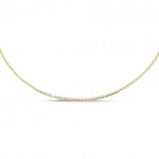 Colliers Or Jaune - 0.30 carat collier fin en or jaune et diamants