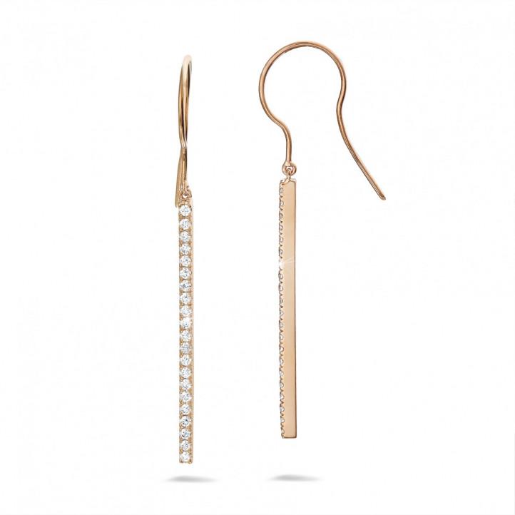 0.35 carat boucles d'oreilles bâton avec diamant en or rouge