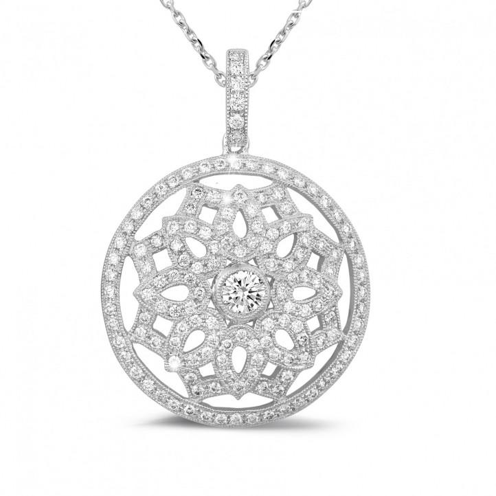 1.10 carat pendentif en or blanc avec diamants
