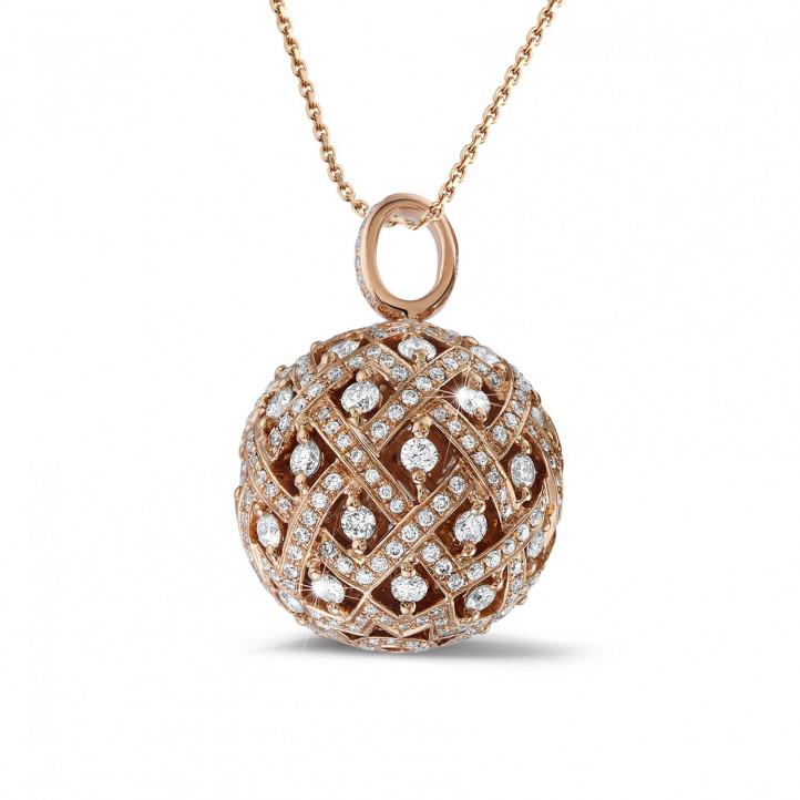 2.00 carat pendentif en or rouge avec diamants