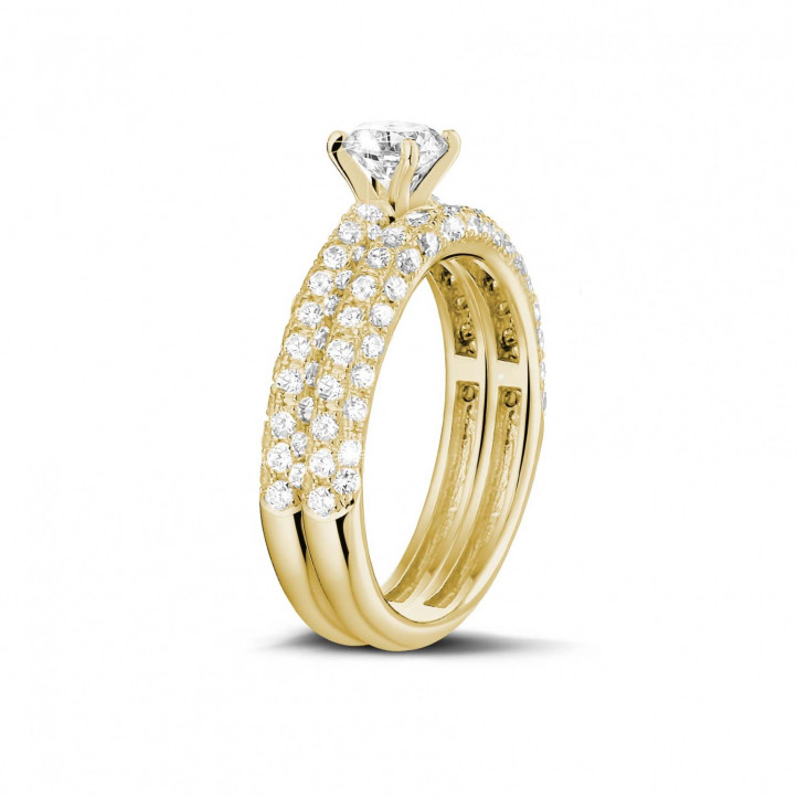 Ensemble 0.50 carats bague de fiançailles diamant et alliance avec petits diamants en or jaune