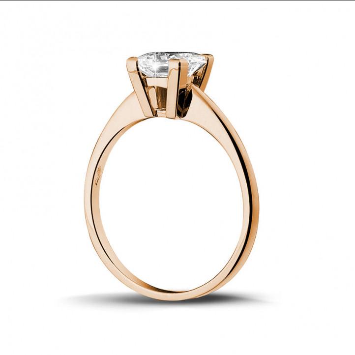 1.25 carat bague solitaire en or rouge avec diamant princesse