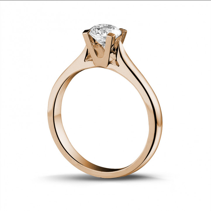 0.50 carats bague diamant solitaire en or rouge
